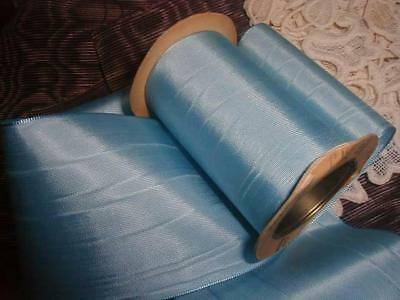 """Lush Antique 1920s Sky Blue Moire Ribbon on Spool Silk/Rayon 6 Yds x 3 3/8"""" wide"""