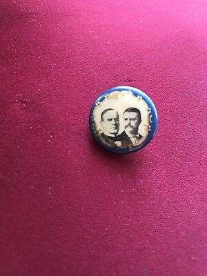 1900 William McKinley Theodore Roosevelt Campaign Political Pin 7/8""
