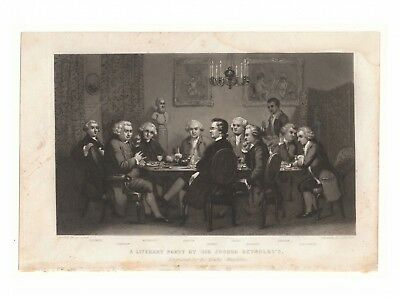 A Literary Party at Sir Joshua Reynolds's - antique engraving from 1849 magazine