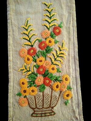 Stunning Flower Urns ~Vintage Heavily Crewel Hand Embroidered Runner/ Scarf