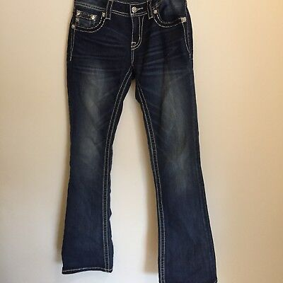 Miss Me Womens Jeans Size 28 Signature Rise Boot Cut Dark Blue Embellished New