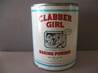 VINTAGE BAKING POWDER TIN CLABBER GIRL 10 lbs size with LID & PAPER LABEL