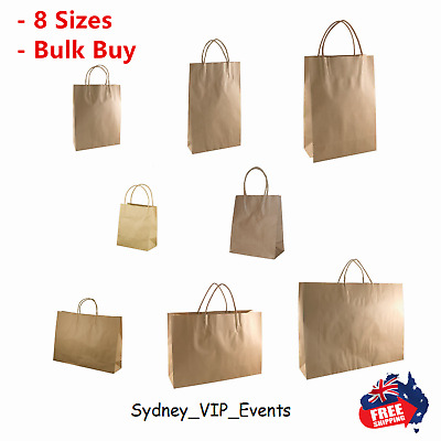 50 x KRAFT BROWN PAPER Carry Bags - with Handle|Shopping Bags|Gift Bags 8 Sizes