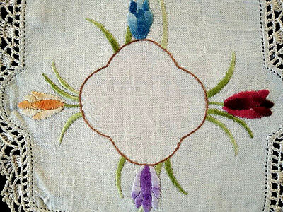 Coloured Tulips ~ Vintage Hand embroidered Doily