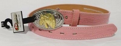 NACONA Girl's Belt Pink Genuine Bonded Leather NWT Size 26 Western Horse Buckle