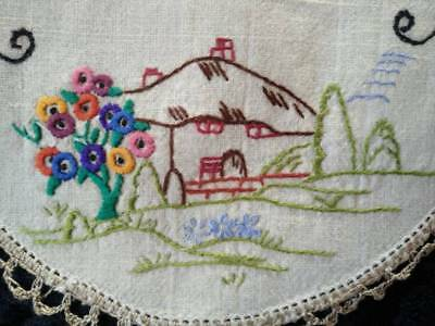 Vintage Thatch Cottage & Deco Tree  ~ Hand Embroidered Doily