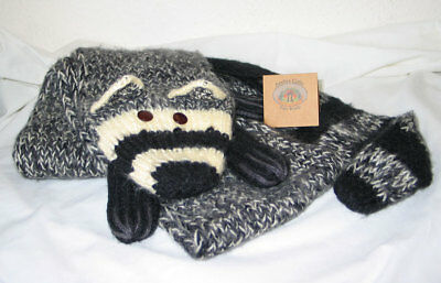 Andes Gifts Fair Trade RACCOON Muffler / Hand Knit Alpaca/Nylon Neck Scarf - NWT