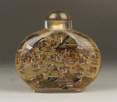 Chinese Exquisite Handmade peoples pattern Inner painting Glass snuff bottle