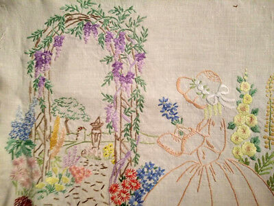 Wisteria Arch ~ Crinoline Lady ~Gardens ~ Vintage Hand Embroidered Picture Panel