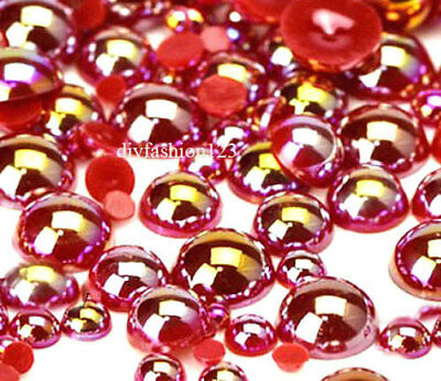 800 Pc AB Red Flatback Round Half Faux Pearls Beads DIY Crafts Nail Art