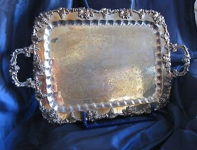 "Antique SILVER PLATE ON COPPER  Service Tray  LARGE  HEAVY  26"" x 16"" English"