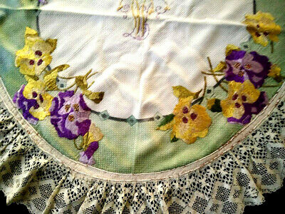 c1900 ARTS & CRAFT/Society Silk~Hand-Embroidered~PANSIES Huge Mat~Cluny Edge~39""