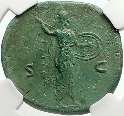 ANTONINUS PIUS 140AD Rome Authentic Ancient Roman Coin MINERVA NGC i68764