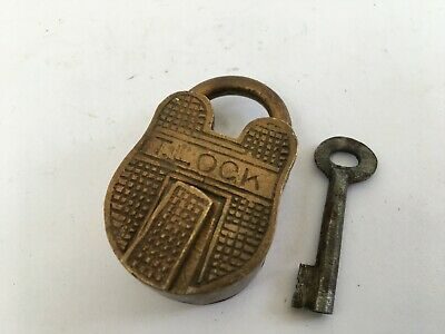 old antique solid brass padlock lock with key rich patina T.LOCK