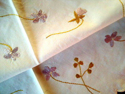 """Antique c1910~SOCIETY SILK~Delicate Violets ~Hand Embroidered Centrepiece~17-18"""""""