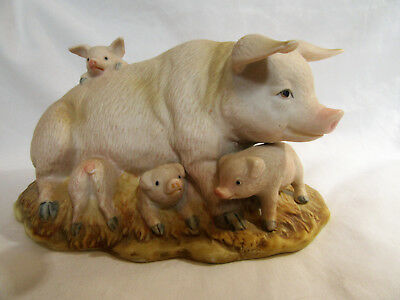 Porcelain Pig with Four Piglets Feeding Playing Homco Figurine