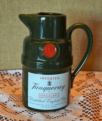 "Tanqueray Ceramic Pub Bar Pitcher Almost 7"" H 4"" Base 24Oz."
