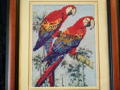 Stunning Australian Parrots - Vintage Hand made Tapestry Framed Picture