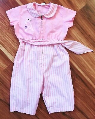 Vintage 50s Baby Jumpsuit Hollywood Needlecraft Outfit Girl Pink Stripes Puppy