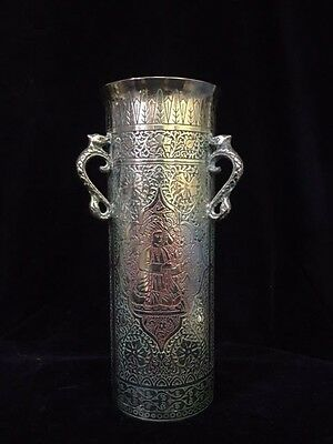 Vintage Antique KINCO Art Deco Spill Vase Coloured Brass. Made in England 1920's