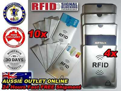4x Passport 10x RFID Blocking ID Credit Card Protector Sleeve - Quick Delivery
