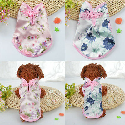 Pet Puppy Cat Tang Suit Chinese Style Skirt Clothes Teacup Dog costume Dress