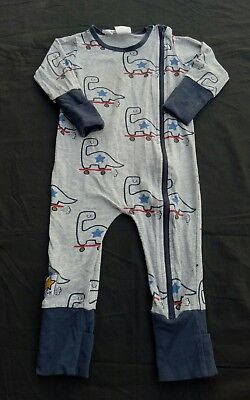 Jack & Milly Boys One Piece Size 0 Grey Blue Zip Front Dinosaurs on Skateboards