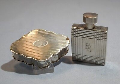 Art Deco 835 Silver Perfume Bottle/Flask & 800 Silver Gilt Snuff Box Circa 1930s