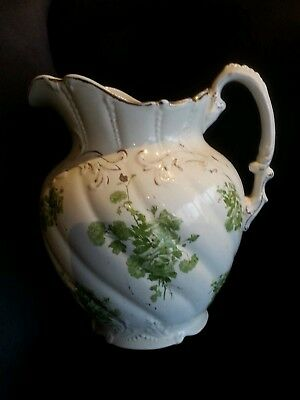 Antique / Vintage Water Jug - Cream/green With Gold Trim Over 100Yrs Old :)