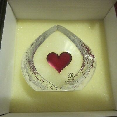 Mats Jonasson Heart Crystal Paperweight With Case Made In Sweden