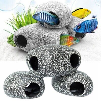 US Fish Tank Aquarium Ornament Ceramic Shrimp Betta House Rock Salt/Fresh Decor