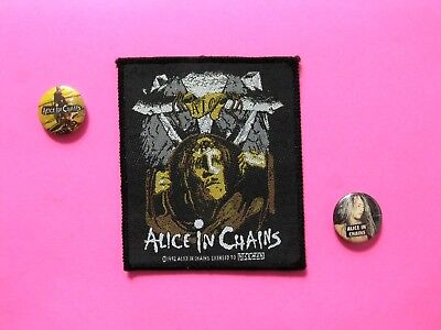 Alice In Chains Official 1992 Vintage Patch + Two Vintage Buttons Uk Made Sew-On