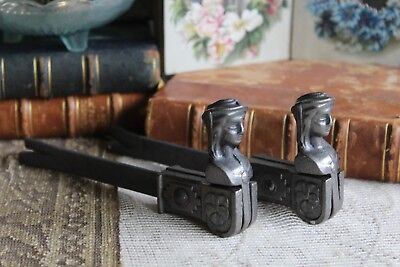 Pair of Vintage French Cast Iron Window Shutter Dogs Holders New Old Shop Stock