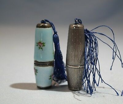 Art Deco Sterling Silver Guilloche Enamel Pair of Sewing Kits & Thimbles
