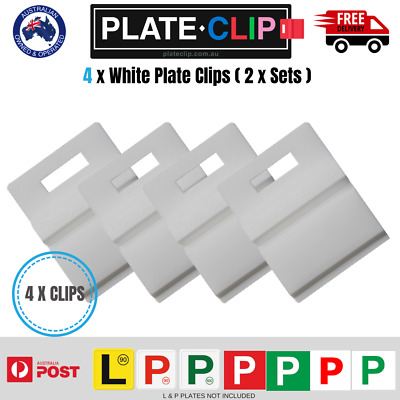 4 x White Plate Clips L & P Plate Holders | Clip It On | FREE Postage!