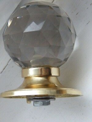 fine faceted glass/brass centre door knob