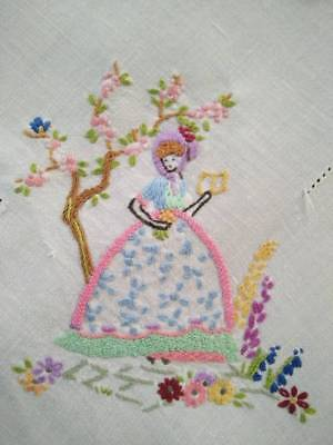 Gorgeous Crinoline Lady & Cupids   ~ Vintage Hand Embroidered Tablecloth