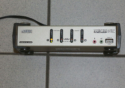 1 x ATEN CS1734B 4-Port-KVM-Switch mit einem 2-Port-USB 2.0 max. 4 PC steuerbar