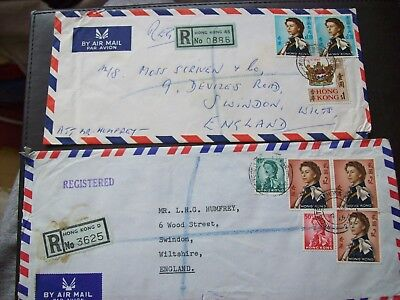 2 X Hong Kong Registration air mail cover $3.6 and $6.9 rate to England