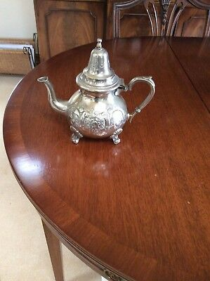 Silver Heavily Embossed  Exotic Teapot