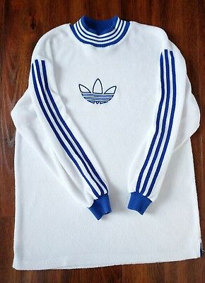 Vintage 90's Adidas Trefoil White Fleece Sweatshirt Sz. Small Blue Striped RARE
