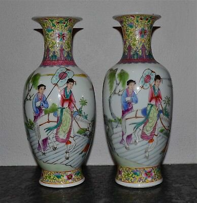 Pair Old or Antique Chinese Famille Rose Porcelain Vases Figures Horses Republic