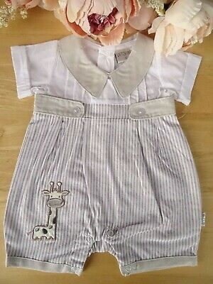 Spanish Style Baby Boy Embroidered Beige Blue Gingham Striped Romper Outfit NB-6