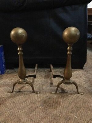 VINTAGE ANTIQUE Brass ANDIRONS FIRE DOGS SET PAIR FIREPLACE Classic Ball Shape