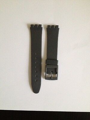 17mm (20mm) Resin Watch Strap Grey for Swatch Watches Free P&P