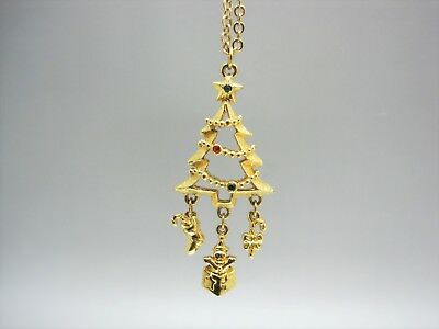 """AVON Golden Christmas Tree 32"""" Holiday Necklace with Red & Green Crystal 18.7 G."""