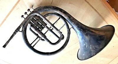 American Artist French Horn Mellophone W/great Engraving  Great Patina Condition