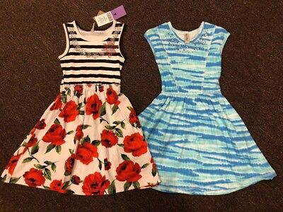Girls Size 4 (4T) Lot Of Two Mignone Brand Cotton Dresses: Floral Rose & Blue
