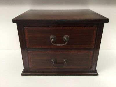 Antique Mahogany Miniature Georgian Chest Of Drawers /jewellery Box