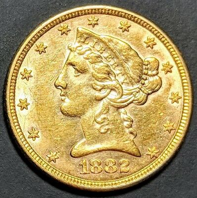 1882 $5 Gold Liberty Head BU+ Stunning Prime Coin and we SHIP FREE !